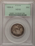 Seated Quarters, 1864-S 25C VG10 PCGS....