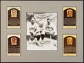 Baseball Collectibles:Others, Yankees Legends Signed Hall of Fame Plaque Postcards Display of4....