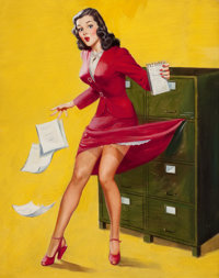 AL BUELL (American, 1910-1996) Office Mishap Oil on canvas laid on board 24 x 21 in. Not signe