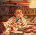 Mainstream Illustration, HAROLD ANDERSON (American, 1894-1973). Young Boy Studying.Oil on canvas. 24 x 24 in.. Signed lower left. From the E...