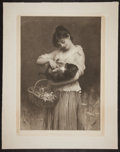 Antiques:Posters & Prints, Luke Fildes. Beautiful Mezzotint Entitled Playfellows.London, 1890. Mild toning and mat burn. Edges have been f...
