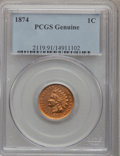 1874 1C --Questionable Color--Genuine PCGS. This PCGS number ending in 91 suggests Questionable color as the reason, or...