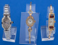 Timepieces:Wristwatch, A Lot Of Three 14k Gold Ladies Wristwatches With Metal Bands Runners. ... (Total: 3 Items)