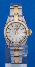 Timepieces:Wristwatch, Rolex Ladies Steel & Gold Reference 6700 Oyster Perpetual Wristwatch. ...