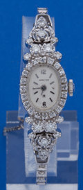 Timepieces:Wristwatch, Hamilton 14k White Gold & Diamond Wristwatch With A 14k WhiteGold Band. ...