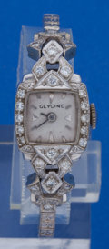 Timepieces:Wristwatch, Glyceine Platinum & Diamond Wristwatch With 14k White GoldBand. ...