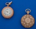 Timepieces:Pocket (post 1900), Two 14k Gold Ladies Pocket Watches. ... (Total: 2 Items)