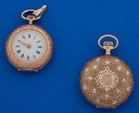 Two 14k Gold Ladies Pocket Watches