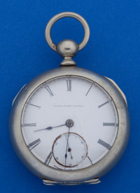 United States Watch Co. 18 Size George Channing Key Wind Pocket Watch Butterfly Cut Out For Restoration