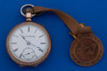 Timepieces:Pocket (post 1900), Elgin 18 Size Pocket Watch With Brass Fob . ...
