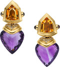 Art Glass:Daum, Amethyst, Citrine, Garnet, Diamond, Gold Earrings. ...