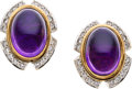 Estate Jewelry:Earrings, Amethyst, Diamond, Gold Earrings. ...