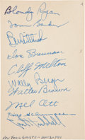 Autographs:Index Cards, 1937 New York Giants Signed Index Card with Ott, Hubbell....
