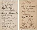 Autographs:Index Cards, 1937 New York Yankees Team Signed Index Cards (2)....
