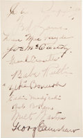 Autographs:Index Cards, 1934 New York Yankees & Chicago White Sox Signed Index Cardwith Babe Ruth....