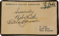 Autographs:Index Cards, Circa 1930 Babe Ruth, Ty Cobb & Tris Speaker Signed Index Card....