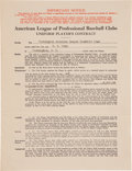 Autographs:Others, 1932 Clark Griffith Signed Sam Rice Washington Senators Contract....