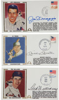 Autographs:Others, 1990's DiMaggio, Mantle & Williams Signed Cachets Lot of 3....
