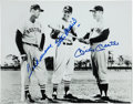 Autographs:Photos, Circa 1990 Williams, Musial & Mantle Signed LargePhotograph....