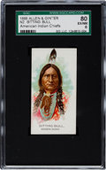 "Non-Sport Cards:Singles (Pre-1950), 1888 N2 Allen & Ginter ""American Indian Chiefs"" Sitting BullSGC 80 EX/NM 6 - Only One Higher!..."
