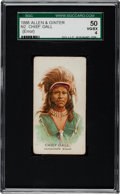 "Non-Sport Cards:Singles (Pre-1950), 1888 N2 Allen & Ginter ""American Indian Chiefs"" Chief Gall,Error SGC 50 VG/EX 4 - Only One Higher!..."