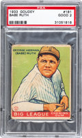 Baseball Cards:Singles (1930-1939), 1933 Goudey Babe Ruth #181 PSA Good 2....