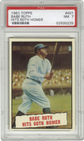 Baseball Cards:Singles (1960-1969), 1961 Topps Babe Ruth Hits 60th Homer #401 PSA NM 7. Little did themanufacturers at Topps know that when they produced this...