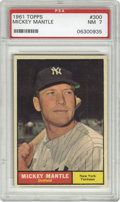 Baseball Cards:Singles (1960-1969), 1961 Topps Mickey Mantle #300 PSA NM 7. A reasonably priced highgrade card in the astronomical market of Mantle cards. Won...