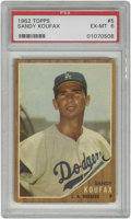 Baseball Cards:Singles (1960-1969), 1962 Topps Sandy Koufax #5 PSA EX-MT 6. One of the most dominantpitchers of all time despite suffering an injury-shortened...