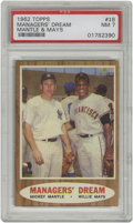Baseball Cards:Singles (1960-1969), 1962 Topps Manager's Dream Mantle/Mays #18 PSA NM 7. A classicimage that brings fan favorite sluggers together on one card...