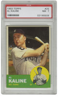 Baseball Cards:Singles (1960-1969), 1963 Topps Al Kaline #25 PSA NM 7. Beautiful Near Mint card herecome by way of the 1963 Topps baseball issue and features ...