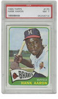 Baseball Cards:Singles (1960-1969), 1965 Topps Hank Aaron #170 PSA NM 7. Nice centering, sharp corners,crisp registration and clean surfaces. All this, and H...
