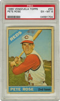 Baseball Cards:Singles (1960-1969), 1966 Venezuela Topps Pete Rose #30 PSA EX-MT 6. Amazing in the grade that we see here, the Pete Rose card we see here comes...