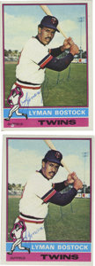 Autographs:Sports Cards, 1976 Lyman Bostock Signed Topps Cards Lot of 2. The tremendously gifted batsman was killed in a tragic shooting just two ye...