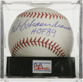 Autographs:Baseballs, Red Schoendienst Single Signed Baseball, PSA Mint+ 9.5. Top qualitysingle on an ONL (Coleman) ball makes note of the Cardi...