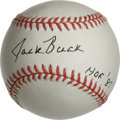 Autographs:Baseballs, Jack Buck Single Signed Baseball. The Hall of Fame Cardinalsannouncer applied his 10/10 black ink signature to an ONL (Col...
