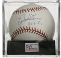Autographs:Baseballs, Bobby Doerr Single Signed Baseball. The Boston Red Sox Hall ofFamer makes note of his induction date along with his fine s...