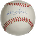 Autographs:Baseballs, Whitey Ford Single Signed Baseball. Dominant postseason ace for theNew York Yankees Whitey Ford has left a great blue ink ...