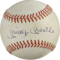 Autographs:Baseballs, Mickey Mantle Single Signed Baseball. Superb example of the Mick'scoveted signature appears on the surface of the provided...