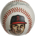 Autographs:Baseballs, Stan Musial Single Signed Portrait Baseball. Unbeatable 10/10 blueink sweet spot signature is paired with a fine handpaint...