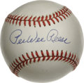 Autographs:Baseballs, Pee Wee Reese Single Signed Baseball. The captain of theoutstanding Dodgers teams of the 50s has left a fine blue inksign...