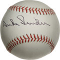 Autographs:Baseballs, Duke Snider Single Signed Baseball. The Hall of Fame BrooklynDodgers center fielder presents a 10/10 black ink signature o...
