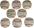 Autographs:Baseballs, Hall of Fame Pitchers Single Signed Baseballs Lot of 8. A quick way to fatten up your signed baseball collection in a hurry...