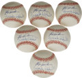 Autographs:Baseballs, Fergie Jenkins & Brooks Robinson Dual Signed Baseballs Lot of6. Half a dozen OAL (Budig) balls offer sweet spots shared by...
