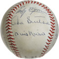 Autographs:Baseballs, 300 Win Club Pitchers Multi-Signed Baseball. Eight members ofbaseball's exclusive 300 win club appear on the surface of th...