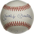 Autographs:Baseballs, Mickey Mantle And Others Signed Baseball. This very clean OAL(Brown) baseball sports a bold blue ink signature on the swee...