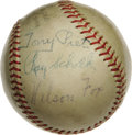 Autographs:Baseballs, Ray Schalk & Nellie Fox Signed Baseball. This pair of Hall of Famers is joined by Tony Piet (another former White Sock) on ...