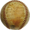 "Autographs:Baseballs, 1938 New York Giants Team Signed Baseball. Polo Grounds spherederives from the estate of Bob ""Suitcase"" Seeds, who played ..."