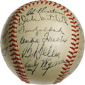 Autographs:Baseballs, 1949 Cleveland Indians Team Signed Baseball. Failing to repeat ontheir World Series success of a year before, the 1949 Cle...