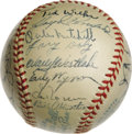 Autographs:Baseballs, 1952 Cleveland Indians Team Signed Baseball. Al Lopez' ClevelandIndians are represented here with 31 signatures from the 1...